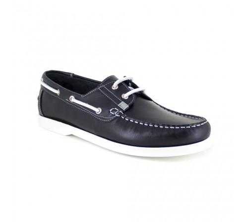 Boat Loafer J.Bradford Navy Blue Leather JB-HECK511