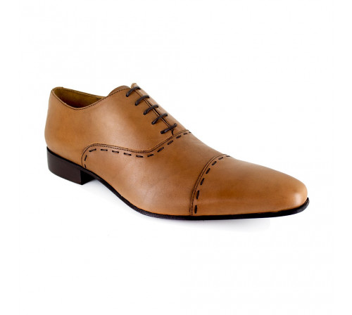 J.BRADFORD Man Camel Leather Shoes Richelieu  JB-DARIUM