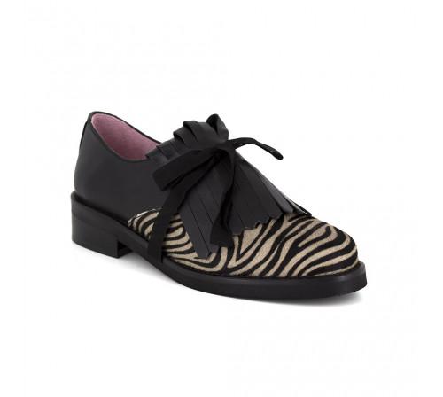 Derby Loca Lova Black Zebra Leather LL102