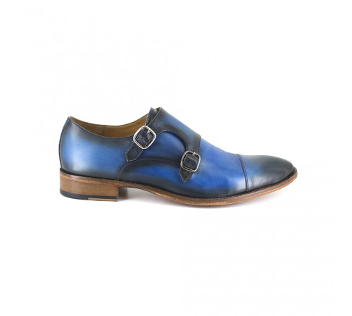 Derby with buckle Pierre Cardin Blue Leather PC1801KQ