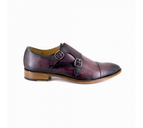 Derby with buckle Pierre Cardin Dark Burgundy Leather PC1801KQ