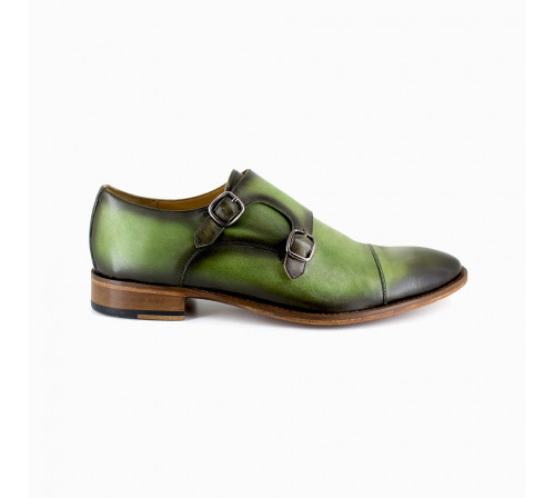 Derby with buckle Pierre Cardin Green Leather PC1801KQ