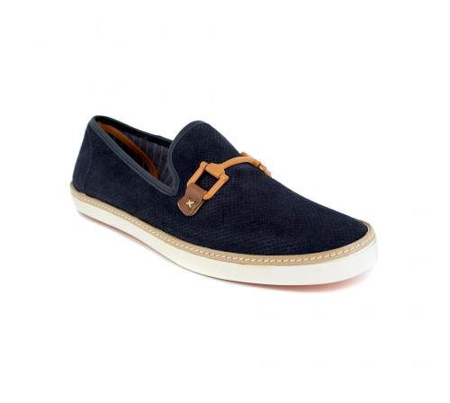 Slipper Peter Blade Navy Blue Leather VALEZY