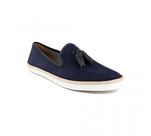 Slipper Peter Blade Navy Blue Leather VALEJAS-T