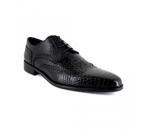 Derby J.Bradford Black Croco Leather JB-TITANE